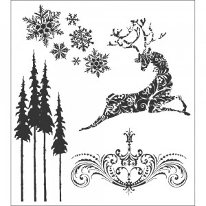 [TH-CMS052] Tim Holtz Cling Mount Stamps Reindeer Flight