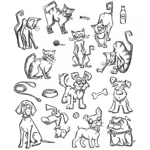 [CMS-LG272] Tim Holtz Cling Mount Stamps Mini Cats & Dogs