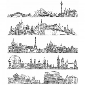 [TH-CMS224] Tim Holtz Cling Mount Stamps Cityscapes