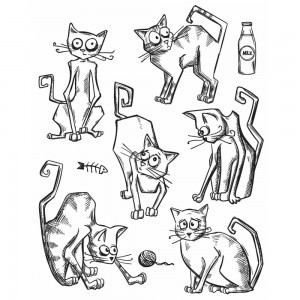 [TH-CMS251]Tim Holtz Cling Mount Stamps Crazy Cats