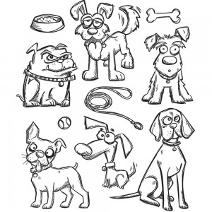 [TH-CMS271] Tim Holtz Cling Mount Stamps Crazy Dogs